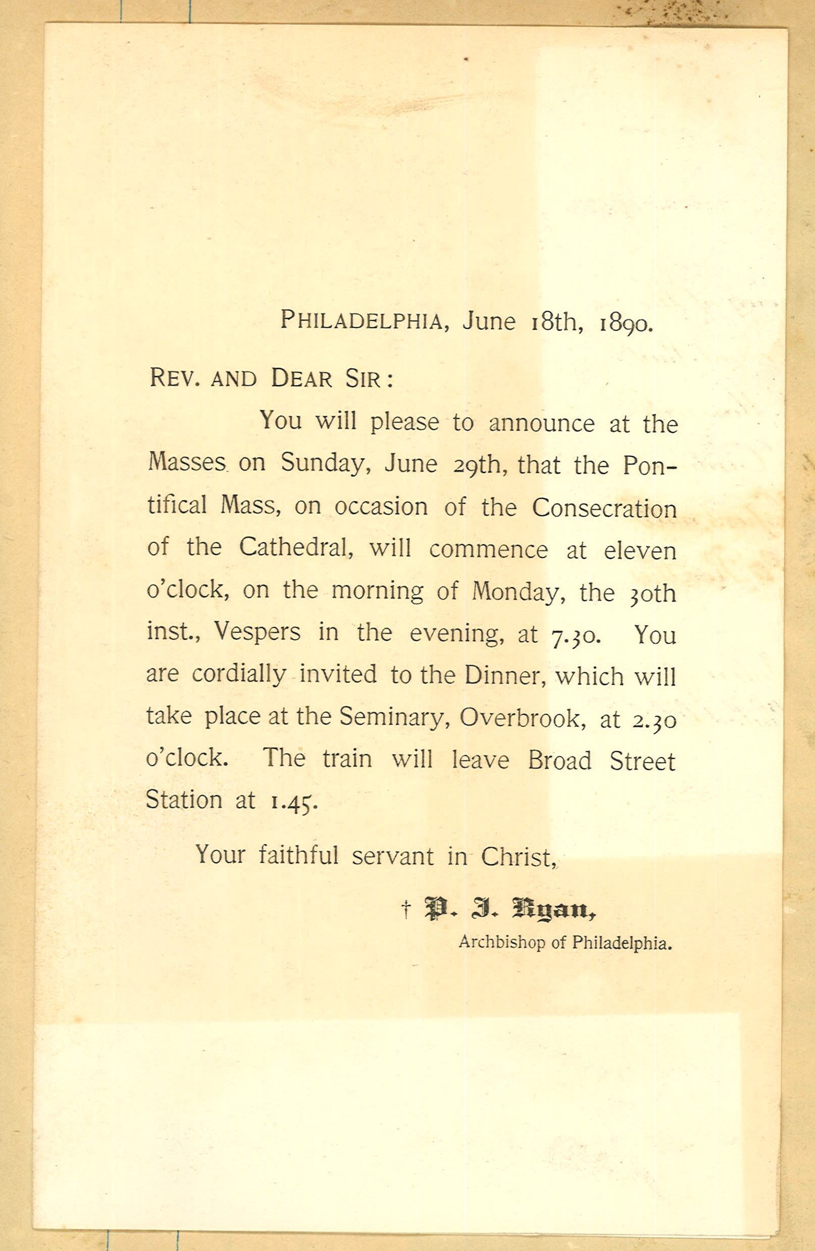 Cathedral Consecration Announcement