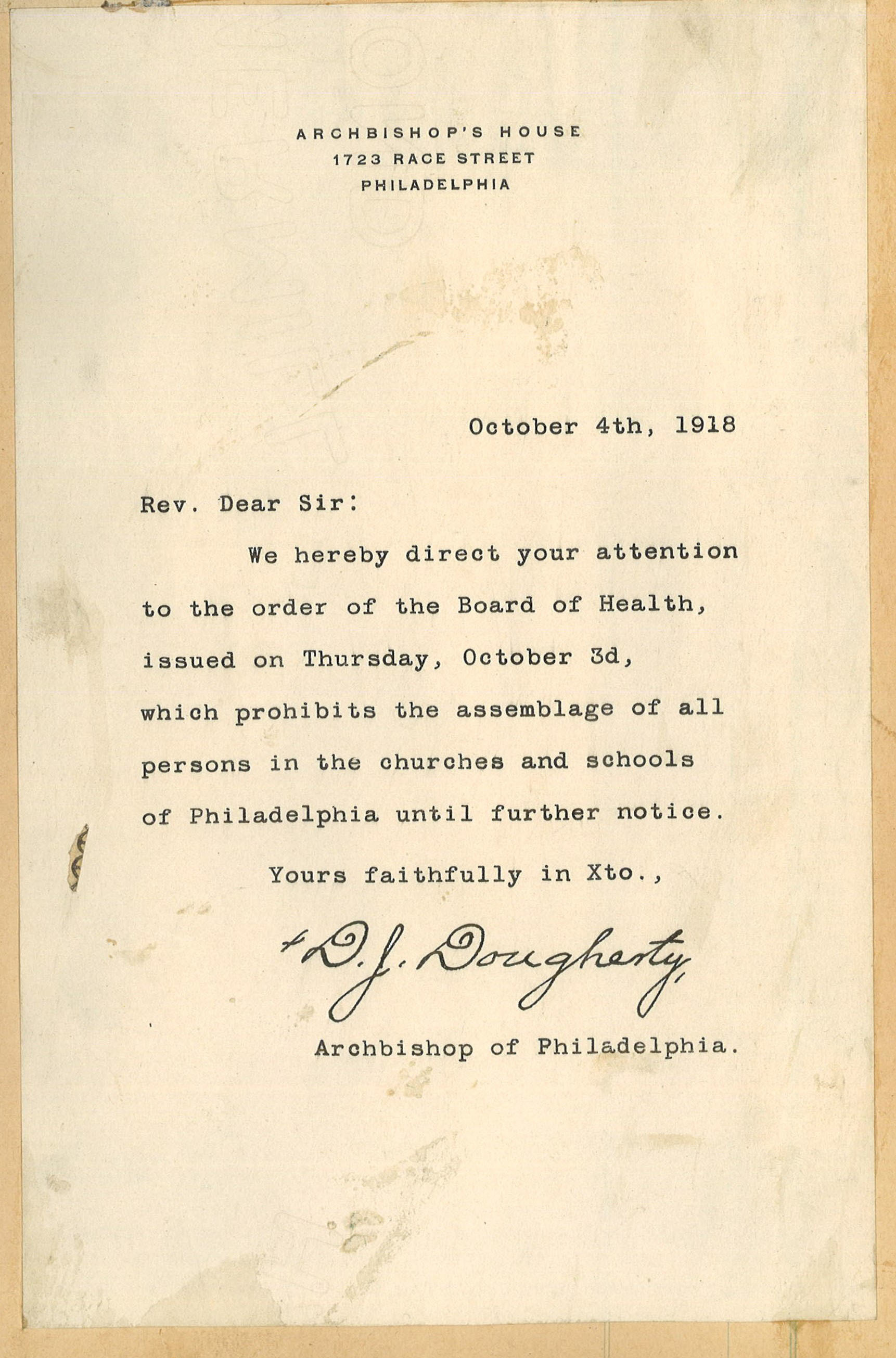 Letter from Dougherty dated October 4, 1918