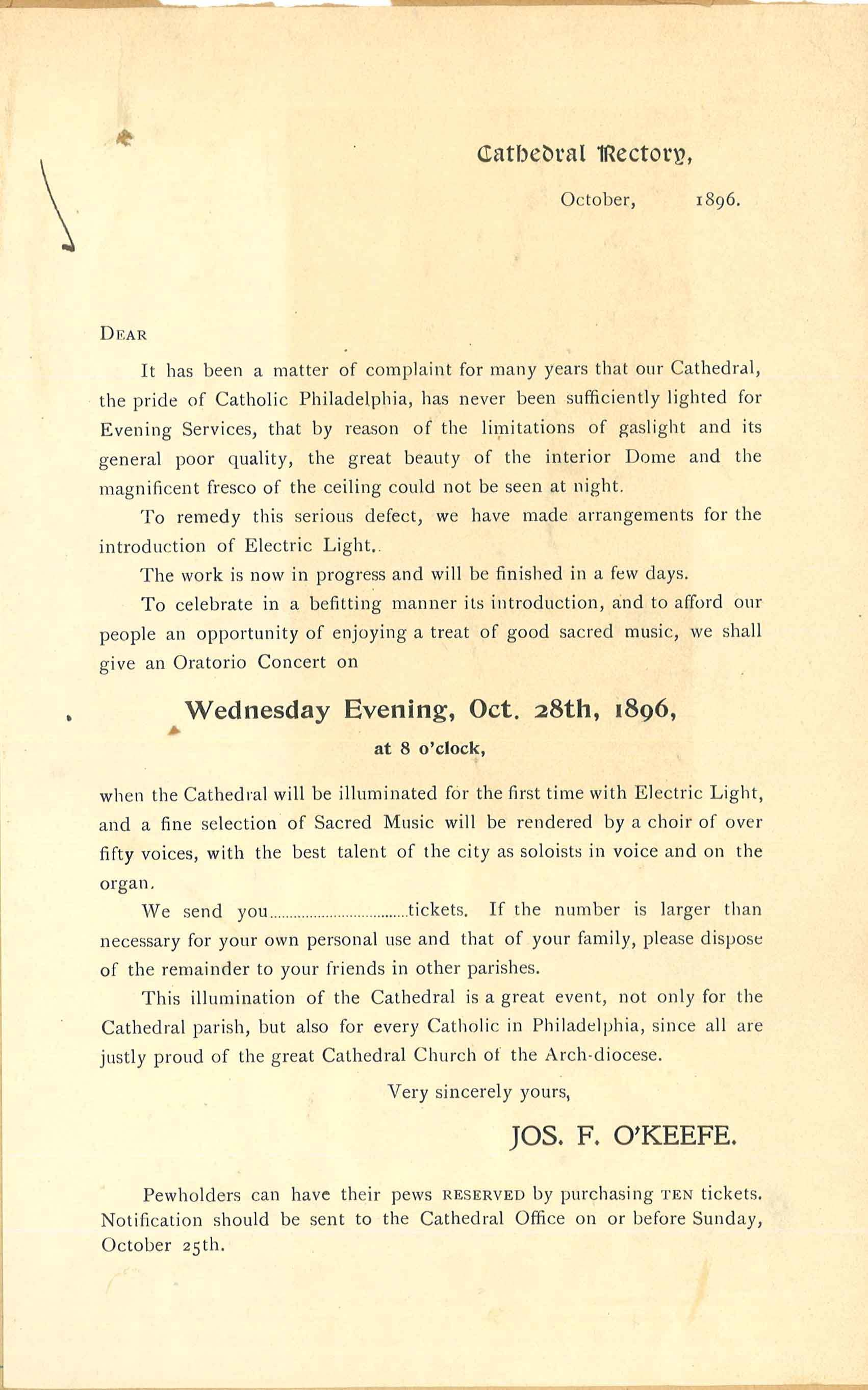 Cathedral Lighting Handbill