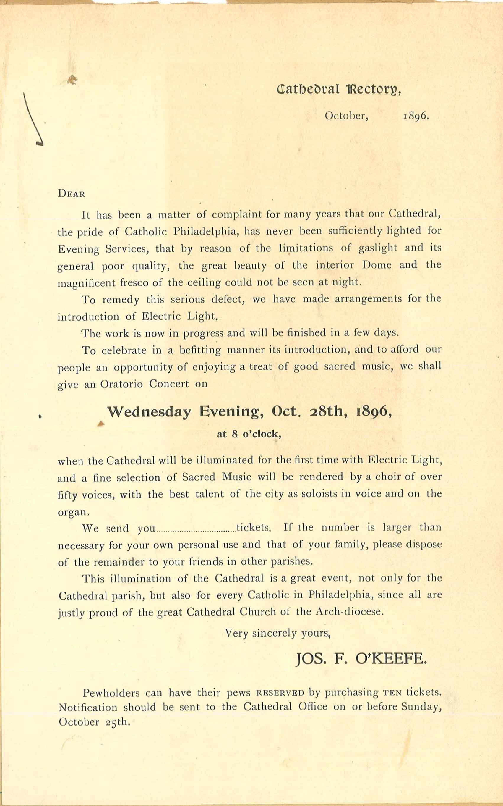 Cathedral Lighting Handbill