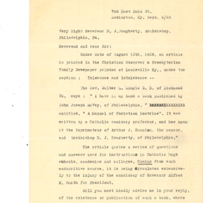 Letter to Cardinal Dougherty, from Henry B. Clay, 09/05/1928