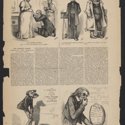 "Clipping from Harper's Weekley with four cartoons and an article titled ""The Tammany Society. Greeley and Kernan"" by Eugene Lawrence."