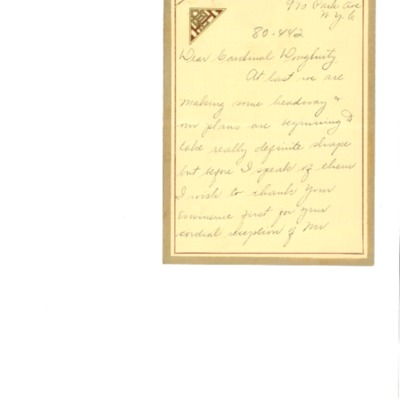 Correspondence between Cardinal Dougherty and Florence Hardart Anglim, 04/1926