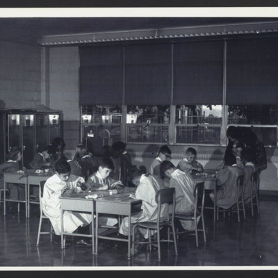 Students in art class at St. Vincent's Orphanage.