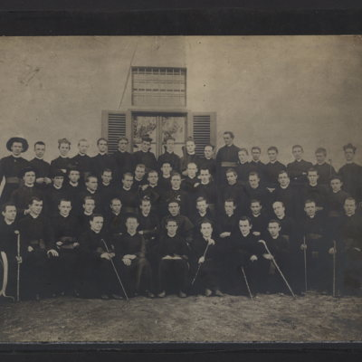 Large group of young priests and seminarians, including Dennis J. Dougherty