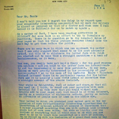 Letter from Mathilde Weil to William Franklin Sands, 06/11/1924