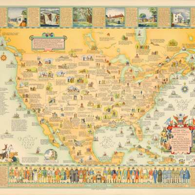 A Map of the United States of America Showing a Part of the Role Played by Catholics in its Discovery, Exploration, Development and Defense