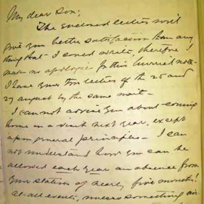 Letter from Adm. James Hoban Sands to William Franklin Sands, 09/30/1896