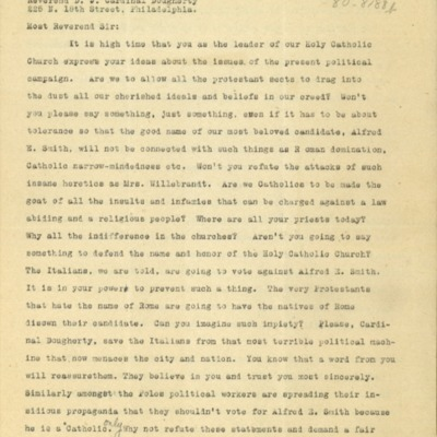Letter to To Cardinal Dougherty from unknown, 10/15/1928, the writer asks Cardinal Dougherty to speak out on the present political campaign involving Al Smith
