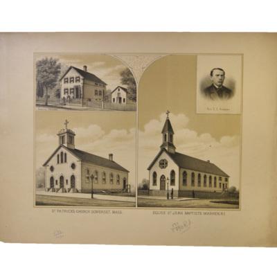 St. Patrick's Church, Somerset, Mass. Eglise St. Jean Baptiste, Warren, R.I.