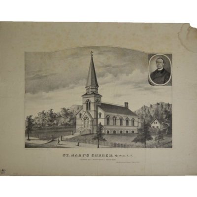 St. Mary's Church. Roslyn, L.I. Pastor Rev. Mortimer C. Brennan. Dedicated June 23rd, 1878