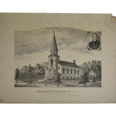 St. Mary's Church. Roslyn, L.I. Pastor Rev. Mortimer C. Brennan. Dedicated June 23rd, 1878