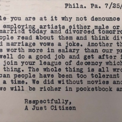 "Letter to Cardinal Dougherty from ""a Just Citizen,"" 07/25/1934"