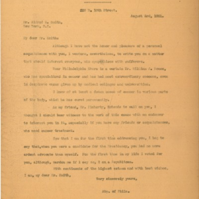 Letter to Honorable Alfred E. Smith, from Cardinal Dougherty, 08/03/1931