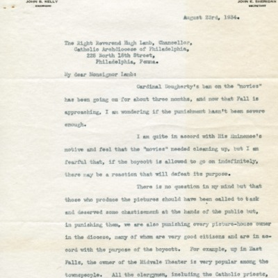 Letter to Mgsr. Lamb from John Kelly, 08/23/1934