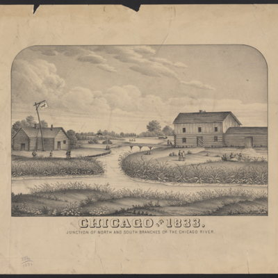 Chicago in 1883. Junction of north and south branches of the Chicago River.