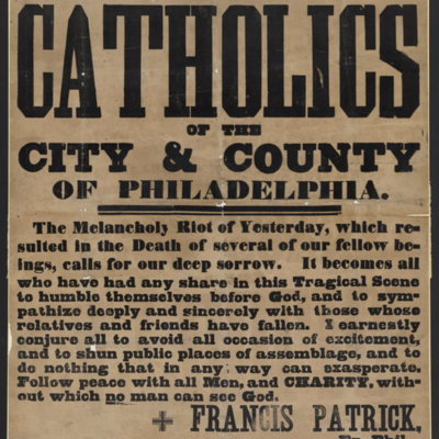 To the Catholics of the city & county of Philadelphia.