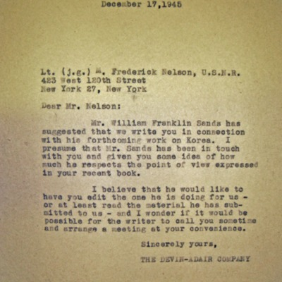 Letter from Devin A. Garrity to Lt. M. Frederick Nelson (USNR), 11/17/1945.
