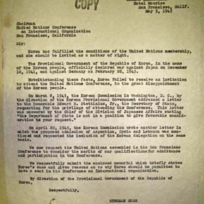 Letter from Syngman Rhee to Chairman of UN Conference, 5/5/1945.