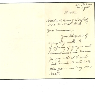 Letter to Cardinal Dougherty from Florence Hardart Anglim, n.d.