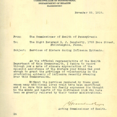 Letter to Cardinal Dougherty from B. Franklin Royer, 11/25/1918