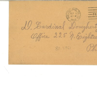 Letter to Dennis Cardinal Dougherty from Mrs. Wright, 9/03/1928