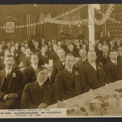 Third Annual Dinner of Irish Americans [of] M[auch] Chunk. March 17th 1914