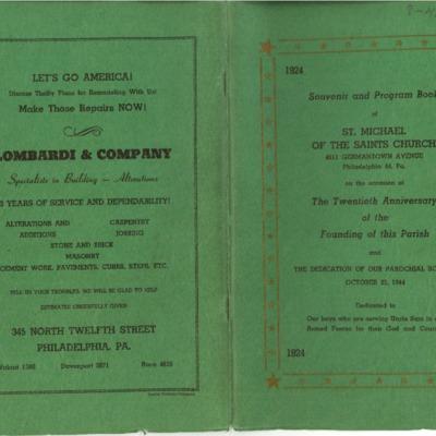 Souvenir and Program Book of St. Michael of the Saints Church, 1924-1944.