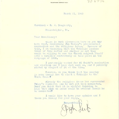 Letter to Cardinal Dougherty, from Joseph Leib, 03/21/1940.
