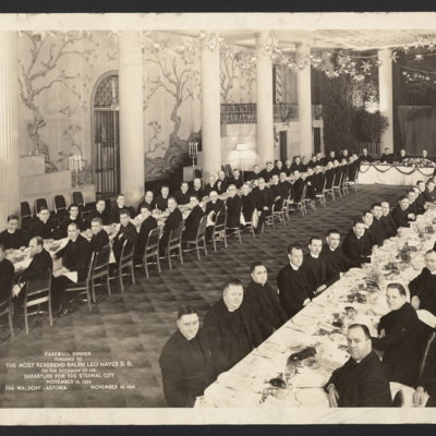 Farewell dinner tendered to The Most Reverend Ralph Leo Hayes D.D. on the occasion of his departure for the Eternal City, November 16, 1935. The Waldorf-Astoria, November 14, 1935