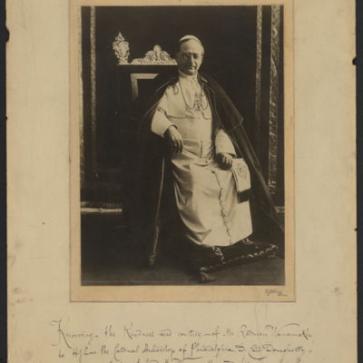 Portrait of Pope Pius XI with Papal Benediction