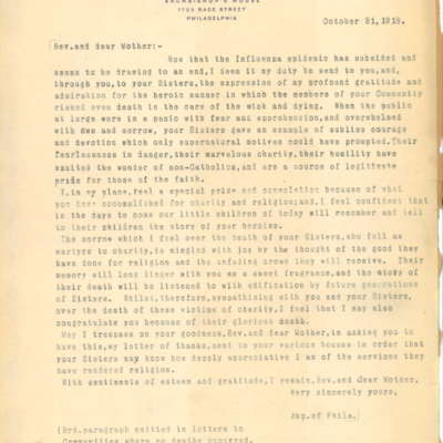 Letter to the Sisters of the Archdiocese of Philadelphia from Cardinal Dougherty, 10/31/1918