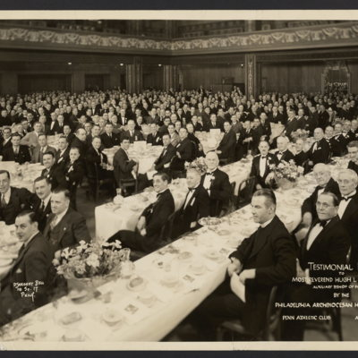 Testimonial dinner to Most Reverend Hugh L. Lamb, D.D., V.G., Auxiliary Bishop of Phila. by the Philadelphia Archdiocesan Holy Name Union. Penn Athletic Club, April 22, 1936