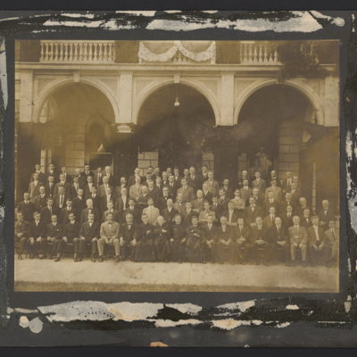 Group of unidentified men in front of Ryan Memorial Library