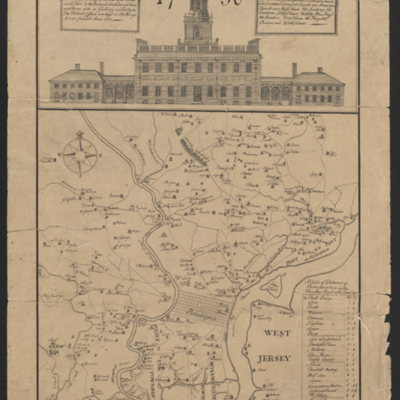 A map of Philad[elphia and p]arts adjacent, with a perspective view of the State-House.