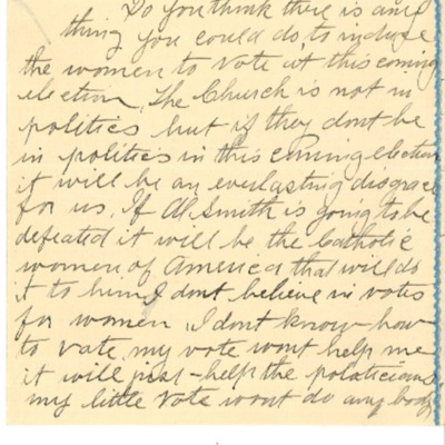 Letter to Dennis Cardinal Dougherty, from anonymous, 1928