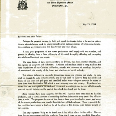 Letter to priests of the Archdiocese from Cardinal Dougherty, 05/25/1934