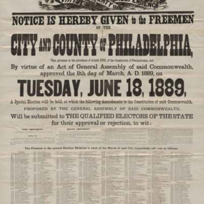 Proclamation! Notice is Hereby Given to the Freemen of the City and County of Philadelphia...