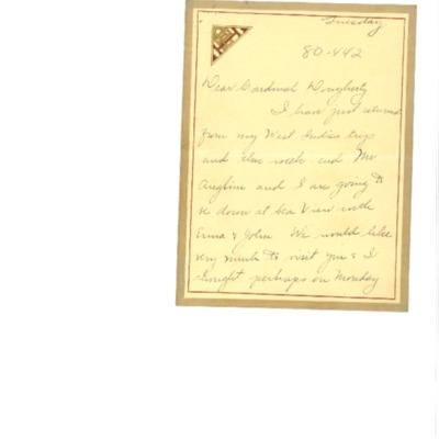 Correspondence between Cardinal Dougherty and Florence Hardart Anglim, 03/1926