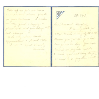 To Cardinal Dougherty from Florence Hardart Anglim, n.d.