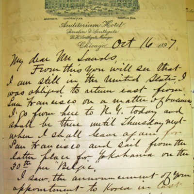 Letter from Edwin Dun to William Franklin Sands, 10/16/1897