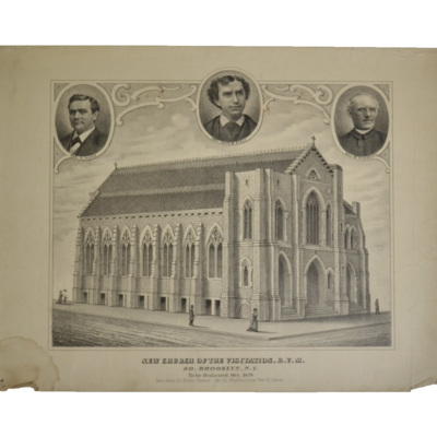 New Church of the Visitation, B.V.M., So. Brooklyn, N.Y. To be dedicated Oct. 1878. Rev. John M. Kiely, Pastor. Rev. M. Riordan and Rev. H. Hand