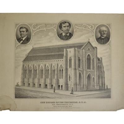 New Church of the Visitation, B.V.M., So. Brooklyn, N.Y. To be dedicated Oct. 1878. Rev. John M. Kiely, Pastor. Rev. M. Riordan and Rev. H. Hand