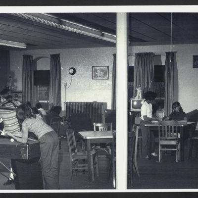 Girls in recreation/game room at St. Vincent's Orphanage.