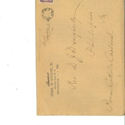 Envelope to Cardinal Dougherty, from Charles H. Krause, Sr., 1915,